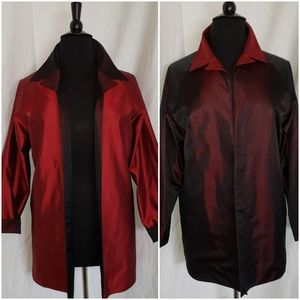 Reversible 2X red burgundy long open jacket